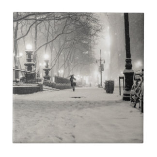 New York Winter - Snowy Night - Bryant Park Small Square Tile