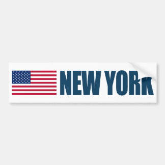 New York with US Flag Bumper Sticker