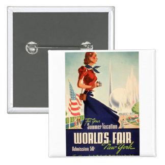 New York World s Fair Poster Pinback Buttons