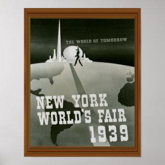 New York World's Fair 1939 Vintage Black White Poster
