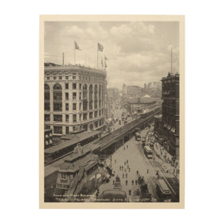 New York ,year 1902, 6th Avenue and 33rrd street Wood Wall Art