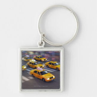 New York Yellow Taxi's Silver-Colored Square Key Ring