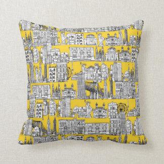 New York / yellow Throw Pillow