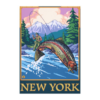 New YorkAngler Fisherman Scene Stretched Canvas Prints