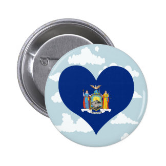 New Yorker Flag on a cloudy background 6 Cm Round Badge