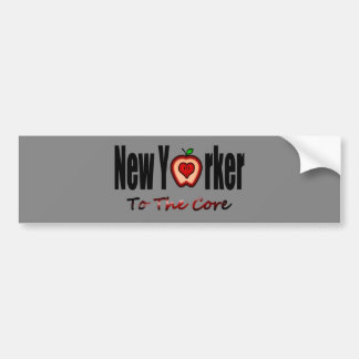 New Yorker To The Core With Sliced Big Apple Car Bumper Sticker