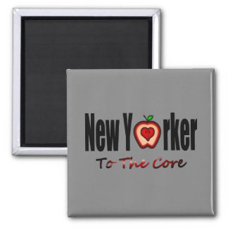 New Yorker To The Core With Sliced Big Apple Square Magnet