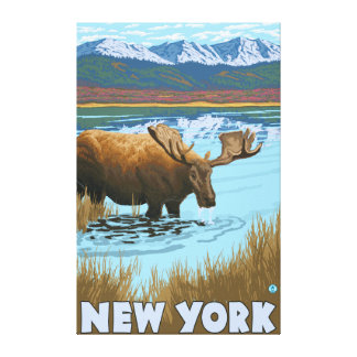 New YorkMoose Drinking in Lake Gallery Wrap Canvas
