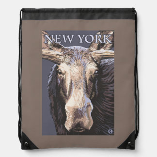 New YorkMoose Up Close Drawstring Bag