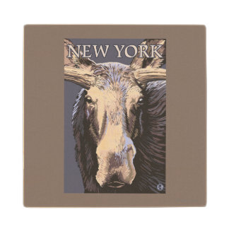 New YorkMoose Up Close Wood Coaster