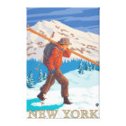 New YorkSkier Carrying Skis Canvas Print