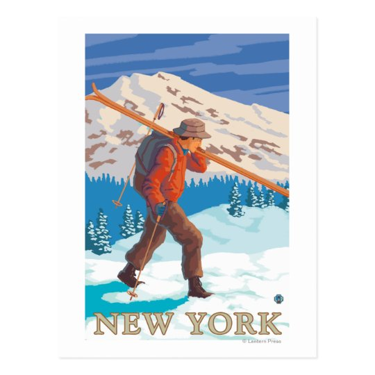 New YorkSkier Carrying Skis Postcard
