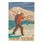 New YorkSkier Carrying Skis Wood Wall Art