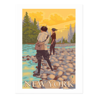 New YorkWomen Fly Fishing Scene Postcard