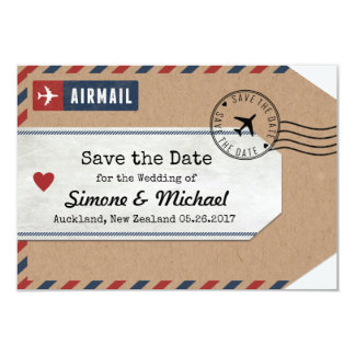 New Zealand Airmail Luggage Tag Save Date 9 Cm X 13 Cm Invitation Card