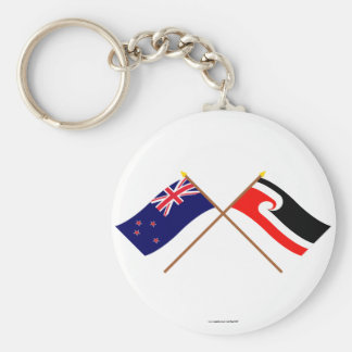 New Zealand and Maori People Crossed Flags Key Chain