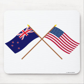 New Zealand and United States Crossed Flags Mouse Mat