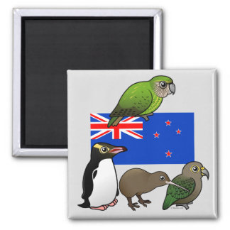 New Zealand Birdorables Square Magnet