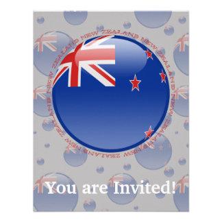 New Zealand Bubble Flag Personalized Invitations