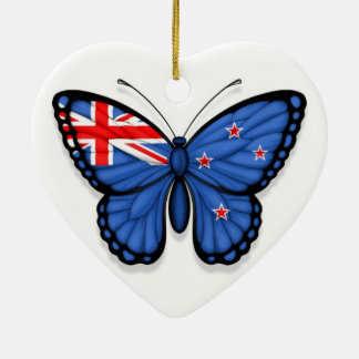 New Zealand Butterfly Flag Christmas Ornament