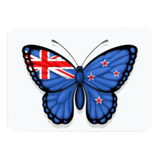 New Zealand Butterfly Flag Personalized Invites