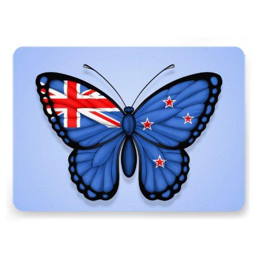 New Zealand Butterfly Flag on Blue Custom Invitation