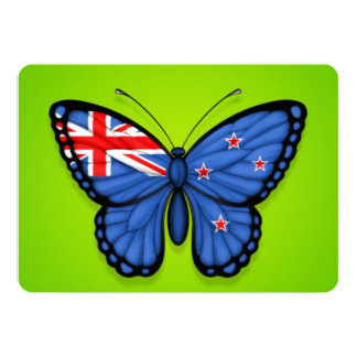 New Zealand Butterfly Flag on Green Invitation