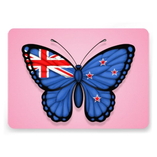 New Zealand Butterfly Flag on Pink Custom Announcement