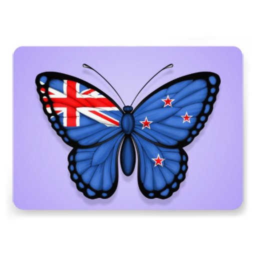 New Zealand Butterfly Flag on Purple Personalized Invites