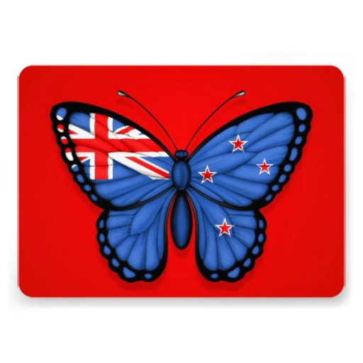 New Zealand Butterfly Flag on Red Custom Invitations