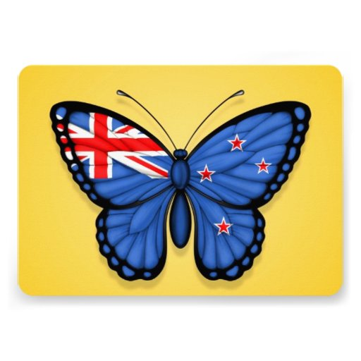 New Zealand Butterfly Flag on Yellow Personalized Invite