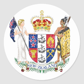 New Zealand Coat Of Arms Classic Round Sticker
