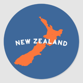New Zealand Country Silhouette Round Sticker