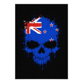 New Zealand Dripping Splatter Skull Personalized Announcement