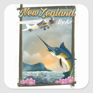 New Zealand Fishing travel poster Square Sticker