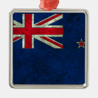 New Zealand Flag Aged Steel Effect Christmas Ornament