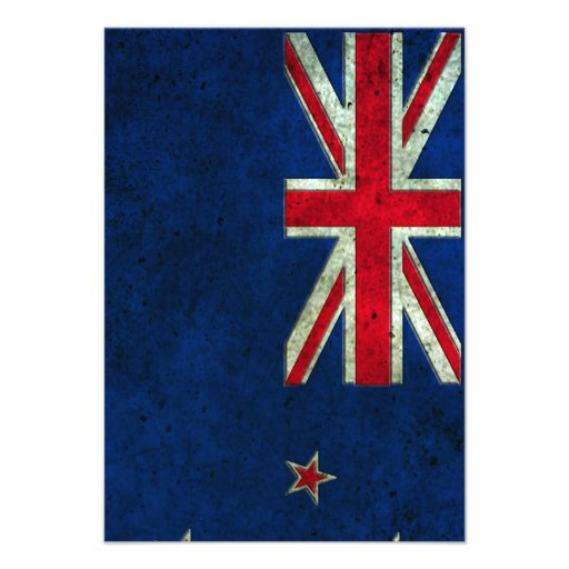 New Zealand Flag Aged Steel Effect Personalized Invitations