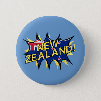New Zealand flag comic style kapow star 6 Cm Round Badge