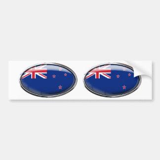 New Zealand Flag Glass Oval Bumper Sticker