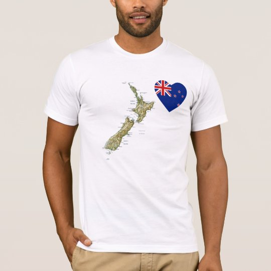 New Zealand Flag Heart and Map T-Shirt