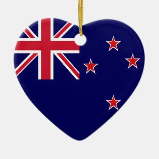New Zealand Flag Heart Christmas Tree Ornament