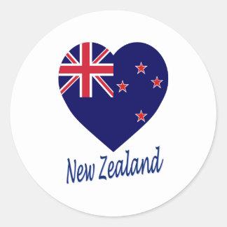 New Zealand Flag Heart Round Sticker