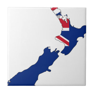 New Zealand Flag Map Small Square Tile