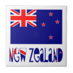 New Zealand Flag & Name Small Square Tile