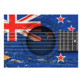 New Zealand Flag on Old Acoustic Guitar Custom Invitations