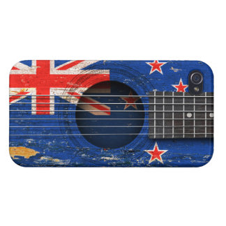 New Zealand Flag on Old Acoustic Guitar iPhone 4 Covers