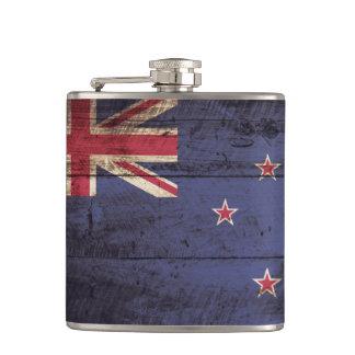 New Zealand Flag on Old Wood Grain Hip Flask
