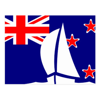 New Zealand Flag Sailing Boat Nautical Postcard