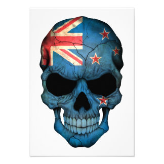 New Zealand Flag Skull Personalized Announcements