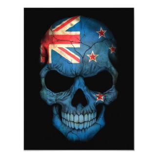 New Zealand Flag Skull on Black 11 Cm X 14 Cm Invitation Card